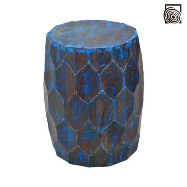 CARVED BLUE STOOL